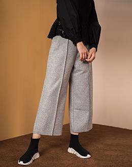 秋冬款灰色高腰直筒九分阔腿裤