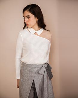简洁针织斜肩镂空薄纱翻领衬衫