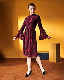 新款欧美风两色蕾丝喇叭袖高腰连衣裙
