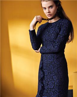 新款欧美纯色修身荷叶边连衣裙