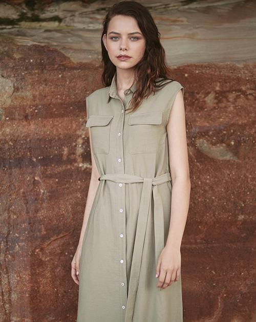 新款军单排扣坎肩长款衬衫连衣裙
