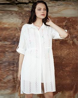新款纯色镂空收腰衬衫连衣裙