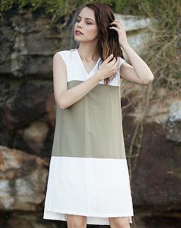新款V领拼色休闲连衣裙
