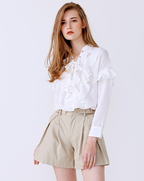 新款荷叶边绑带白衬衫