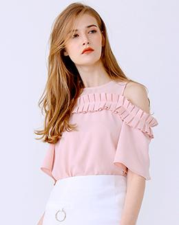 新款百褶荷叶边粉色漏肩上衣