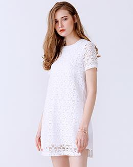新款圆领短袖拼接蕾丝连衣裙