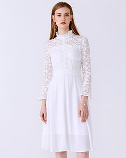 新款立领雪纺拼接喇叭袖蕾丝连衣裙