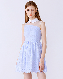 新款翻领欧根纱拼接蕾丝连衣裙
