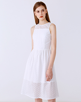 新款圆领无袖蕾丝背心连衣裙