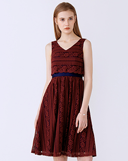 新款V领撞色拼接蕾丝连衣裙