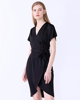 新款V领系带开衩连衣裙