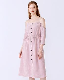新款一字肩条纹吊带连衣裙
