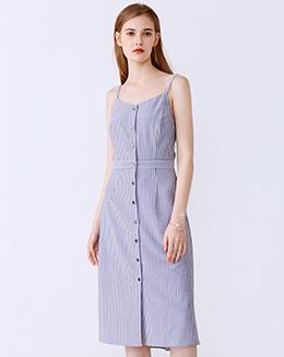 新款条纹吊带连衣裙