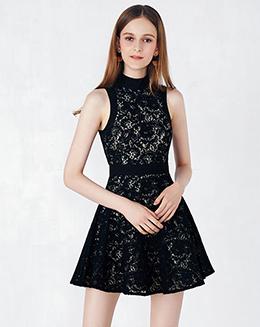 新款立领无袖蕾丝连衣裙