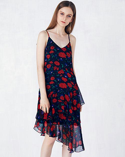 新款荷叶边印花吊带连衣裙