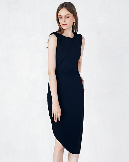 新款不规则蕾丝拼接无袖连衣裙