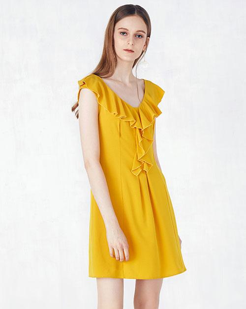 新款荷叶边领纯色雪纺连衣裙