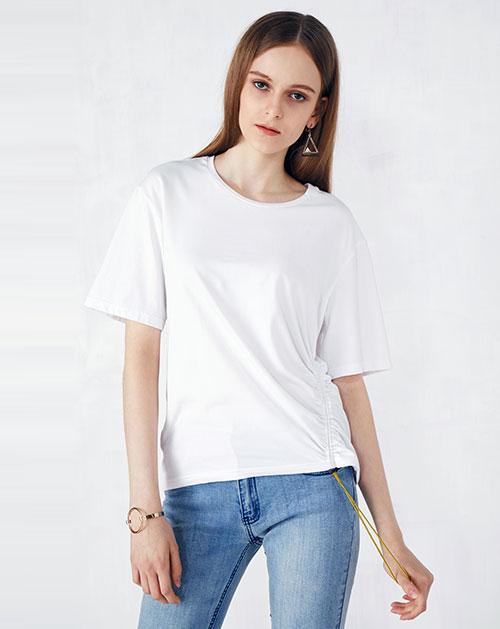 新款橡筋抽绳纯色圆领T恤