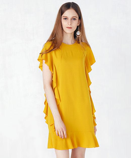 新款荷叶边袖系带鱼尾连衣裙