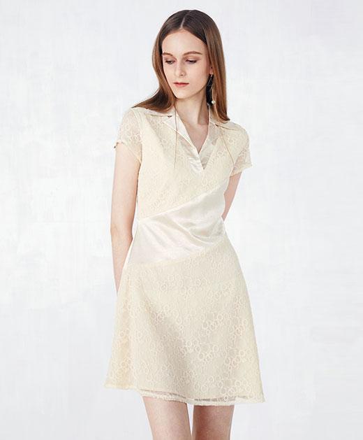 新款翻领蕾丝拼接连衣裙