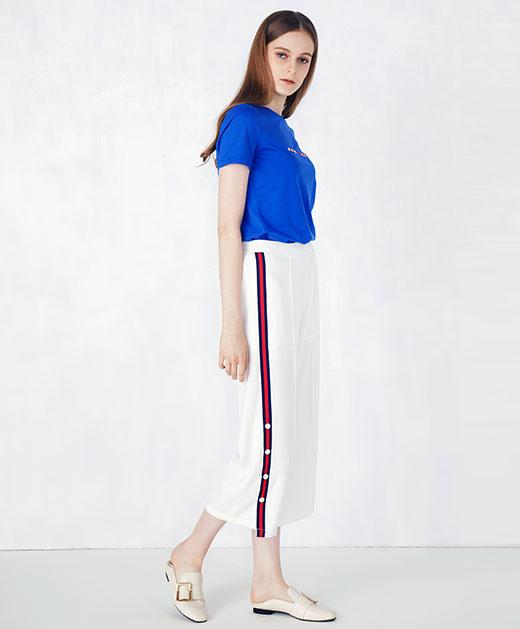 拼接条纹休闲裤