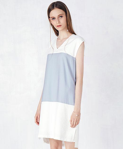 V领撞色拼接无袖连衣裙
