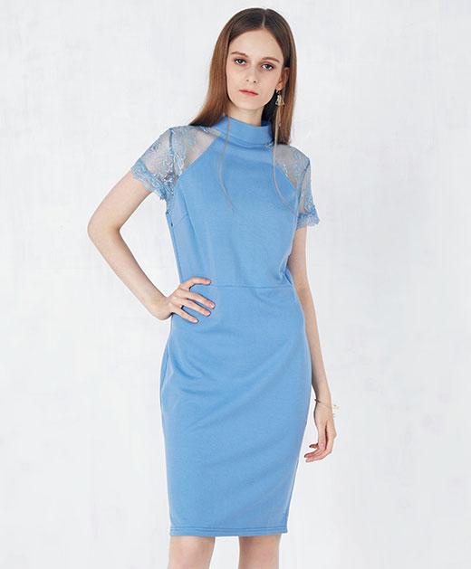 半高领拼接蕾丝连衣裙