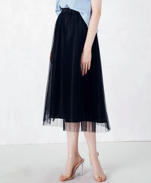 百褶网纱半身裙
