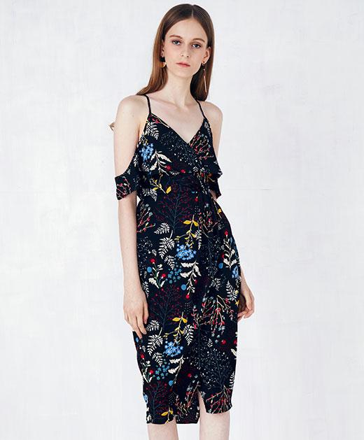 荷叶边袖碎花吊带连衣裙