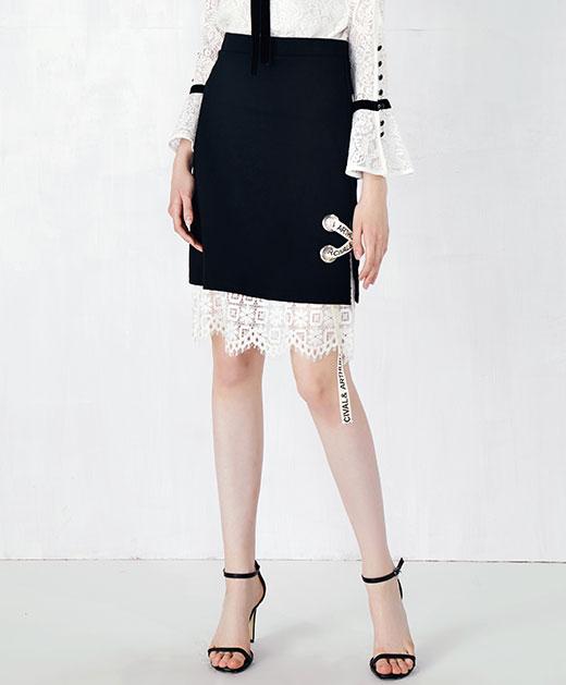 蕾丝拼接织带A字包臀半身裙