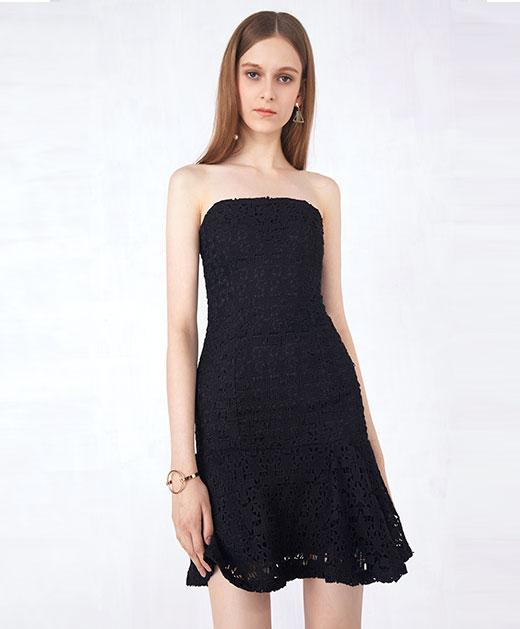 抹胸修身蕾丝鱼尾连衣裙