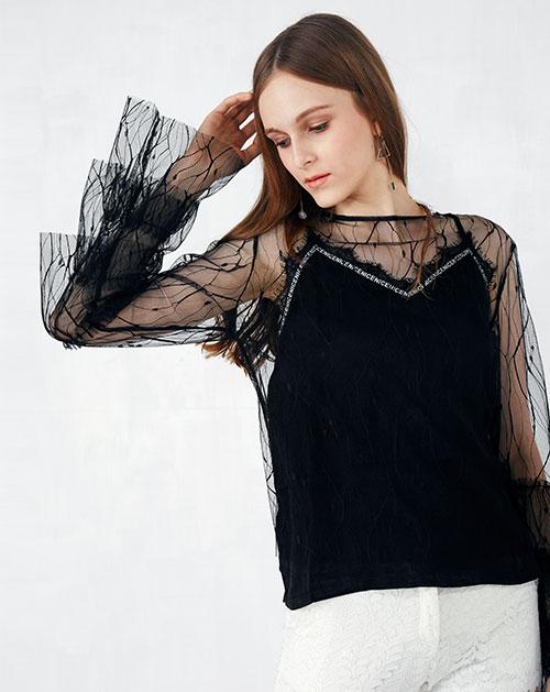 欧美喇叭袖透视网纱上衣
