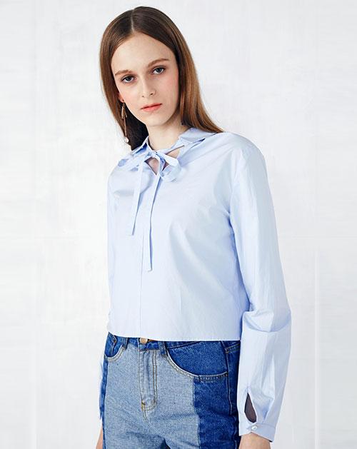 蝴蝶结系带短款衬衫两穿上衣