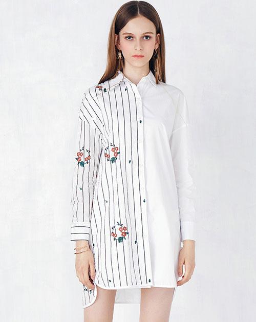 前短后长拼接条纹衬衫连衣裙