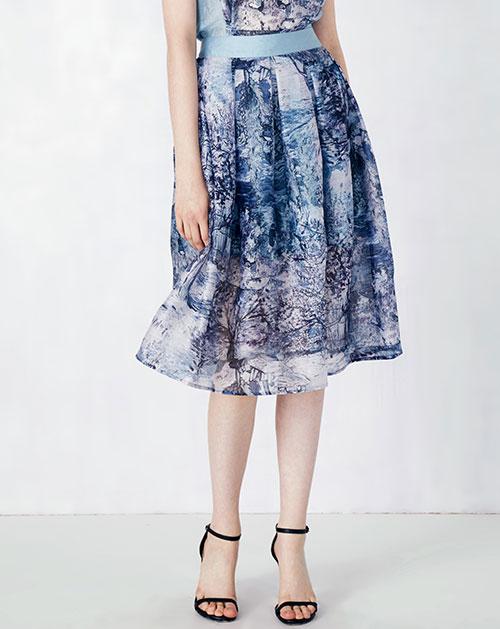 高腰印花雪纺半身裙