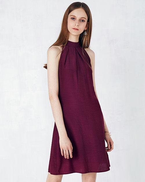 挂脖无袖雪纺连衣裙