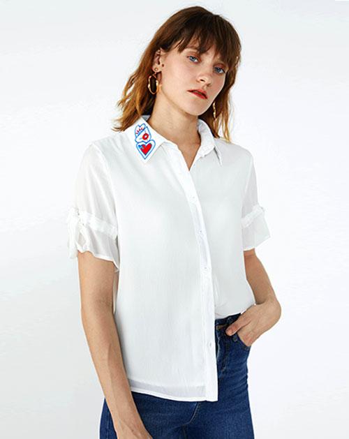 绣花撞色拼接喇叭袖雪纺衬衫上衣