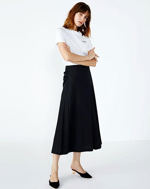 高腰皱褶纯色休闲半身裙