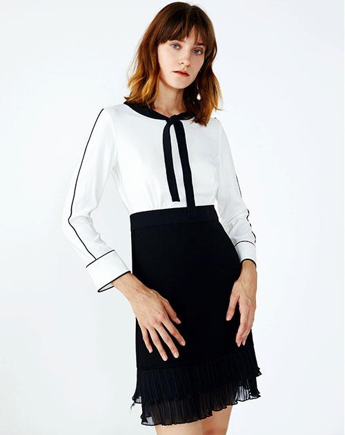 黑白撞色拼接高腰假两件套雪纺连衣裙