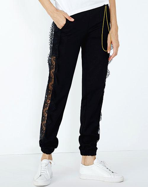 条纹拼接蕾丝镂空休闲长裤