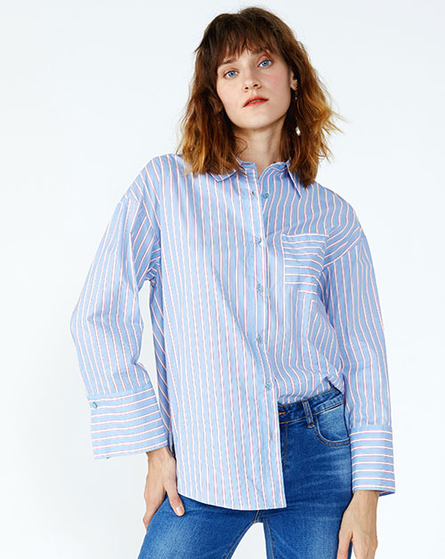 单排扣宽松条纹衬衫上衣