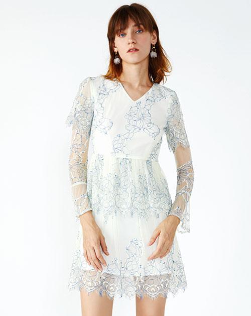 秋季新款喇叭袖透视高腰蕾丝连衣裙