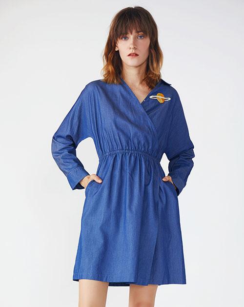 新款休闲条纹撞色拼接牛仔连衣裙