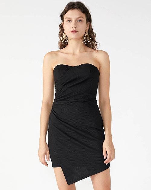秋季新款不规则收腰纯色抹胸连衣裙