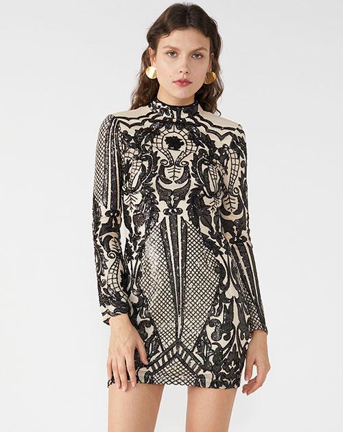 秋季新款半高领长袖撞色亮片拼接连衣裙