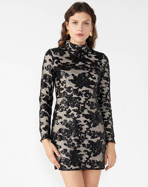 秋季女装高领长袖修身亮片连衣裙