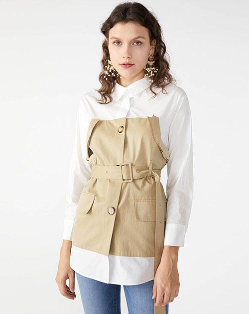 广州制衣厂2018秋季新款秋装新款撞色拼接腰带收腰假两件衬衫上衣