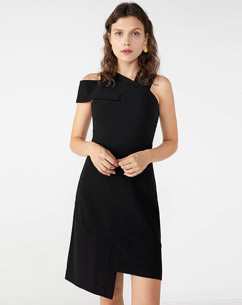 广州制衣厂2018秋季新款欧美秋季新款纯色不规则高腰修身连衣裙
