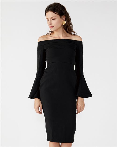 广州服装厂2019春夏新款一字肩喇叭袖包臀裙