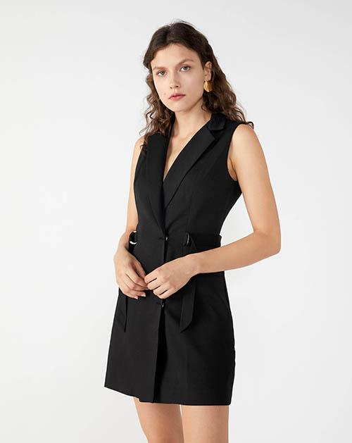 广州服装厂2019春夏新款黑色无袖西装连衣裙